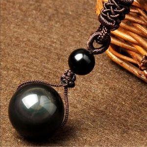 ✔️NWOT Black Natural Obsidian Stone Necklace